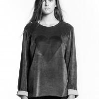 Black Heart Unisex Velvet Sweatshirt by Marit Ilison (1)