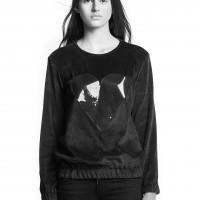 Black Heart Unisex Elastic Glossy Velvet Sweatshirt by Marit Ilison (1)